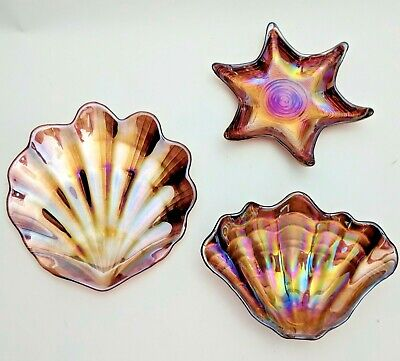 Shell shaped Bowls Dishes Trinkets Tangerine Lustre Iridescent Seashell Decor