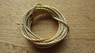 BRASS PLATED PICTURE HANGING WIRE MIRROR HEAVY DUTY 2 METRES MULTI STRAND 10kg