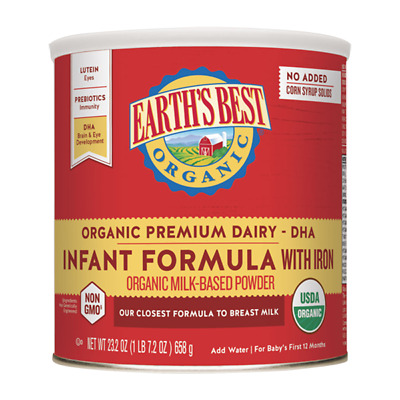 Four Pack, Earth's Best Organic Dairy Infant Formula With Iron, Milk-Based, 23.2