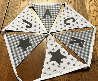 Personalised Handmade Fabric Bunting Grey White Mix Any Name £1.00 per Flag
