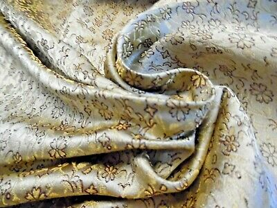 "MICRO JACQUARD SILK BROCADE~BURGUNDY/GOLD/PEARL~9""x22""~DOLL FABRIC"
