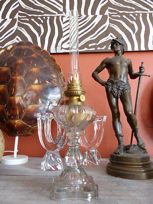 Superb antique French Oil Lamp Moulded glass & Brass Complete 1900 Original #3