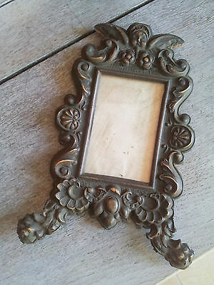 Superb Rare Antique French Frame for picture brass Louis XV n°5 cherub cadre