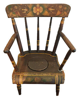 Painted Child's Necessary (Potty) Chair from an Early Ohio Inn