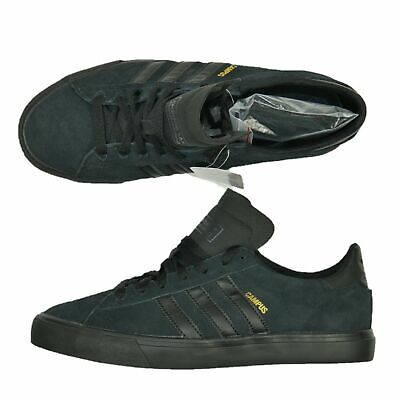 Adidas Campus Vulc Ii Skateboarding Sneaker Shoes Mens Sz 9.5 All Black Suede
