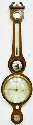 Fine Antique English Banjo Amboyna Wall Barometer, Thermometer & Hydrometer