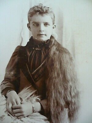 Antique Cabinet Photo Pretty Young Girl Waist Length Long Hair Beautiful Eyes
