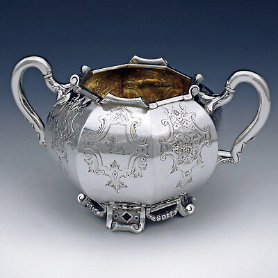 Antique Sterling Silver Gilt Sugar Bowl ~ Benjamin Preston ~ Victorian 1844