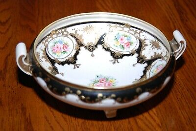Hand Painted Nippon Floral Gold Moriage 3 Footed Bowl w/ Handles Ivory/Black