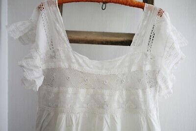 Antique French woman delicate NIGHSHIRT CHANTILLY LACE cotton veil c1880