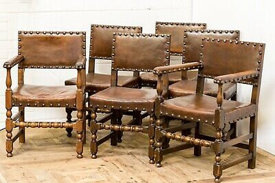 Antique Baronial / Arts & Crafts Set of Six Oak & Leather Dining Chairs