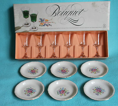 """Dema """"Bouquet"""" 6x liquer Glasses and 6x Bavaria Windsor floral pin dishes"""