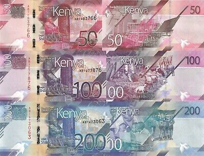 Kenya 3 Note Set: 50 to 200 Shillings (2019) - pNew/New Series UNC