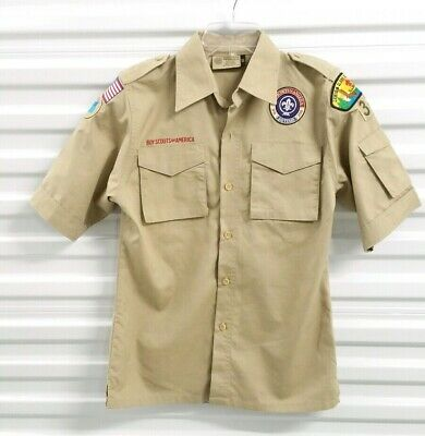 Boy Scouts Of America Youth Large Uniform Shirt Button Up Short Sleeve Tan
