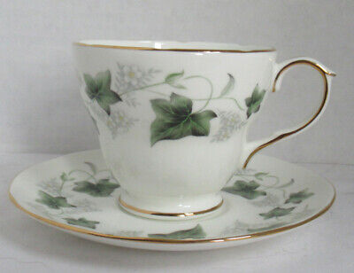 Duchess Fine English Bone China Teacup Tea Cup Saucer Green IVY flowers scallop