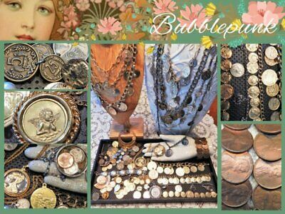 Huge Now ~ Vintage Jewelry Lot Coin Medal Medallion Assortment Wear Resale Craft