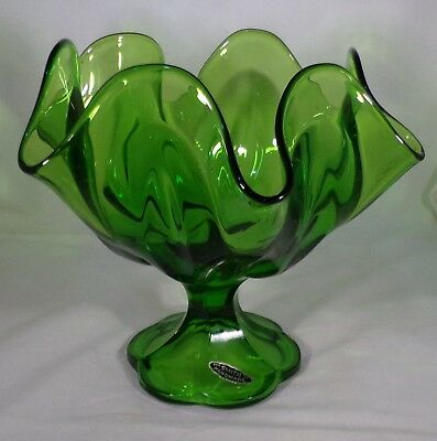 """Vintage Green Footed Candy Dish Original Smith Label Green Scalloped Edge 7"""" ="""