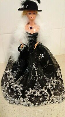 Barbie Doll Clothes -B & W, Ball Outfit w/ dress,shoes,bag, jewellery, Hat, Boa