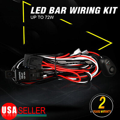 Wiring Harness Switch Relay Kit for Connect 2 LED Work Driving Light Bar 0W-72W
