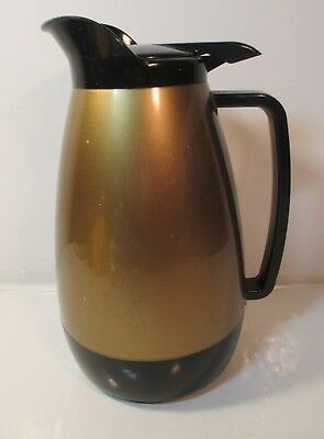 VINTAGE THERMO SERV Black Gold Metal Handles Insulated LITER Coffee Carafe Pot