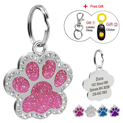 Bling Paw Glitter Personalized Dog Tags Engraved Puppy Pet ID Name Collar Tag