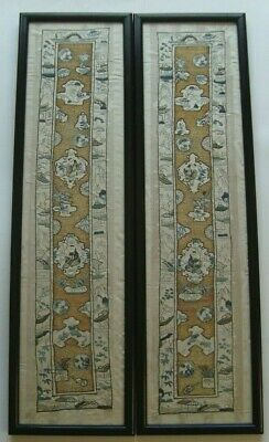 Pair of Antique Chinese Embroidery Sleeve Band Panels Framed