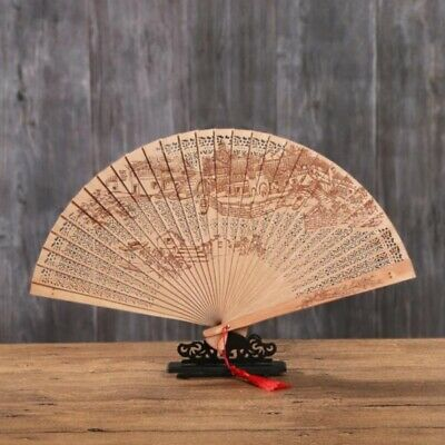 12 PACK CHINESE Sandalwood Style Wooden Hand Fans Bridal