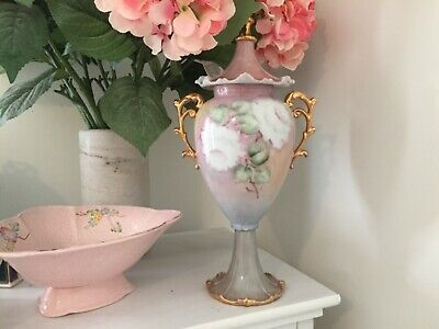 Antique hand painted Urn with gold handles in beautiful  pastel colour