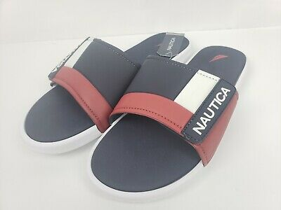 fcf2dea75dab5 NAUTICA MEN'S ALTAIR White W/ Red And Navy Logo Slide Sandals Sizes ...