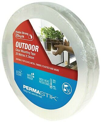 Permastik OUTDOOR MOUNTING TAPE 20mx24mm UV & Moisture Resistant TRANSPARENT