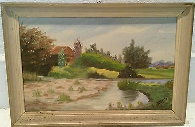 Old Vintage Israeli Painting House Near the River Oil On blackboard by Klinhaout