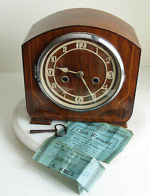 Vintage Art Deco English 8-Day Striking Mantel Clock 1939