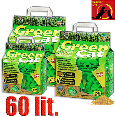 Green Cat Klumpstreu 2x24+12= 60L Best Cat`s Öko-Plus Streu Katzenstreu GreenCat