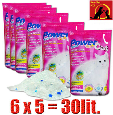 PowerCat Magic Silikat Katzenstreu 6 x 5L = 30L Power Cat Streu Forever Clean