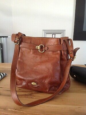 THE BRIDGE LEDER Tasche BEUTEL Schultertasche LEATHER Satchel BAG Cognac Vintage