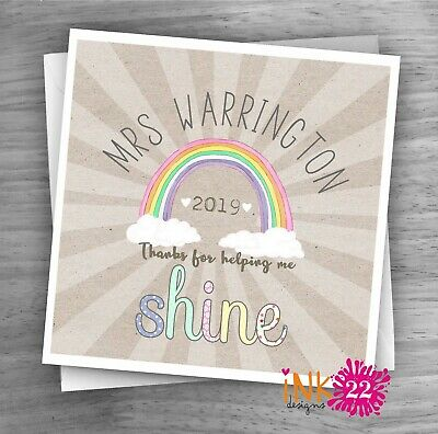 Personalised Thank you Teacher card Teaching Assistant Nursery School Rainbow