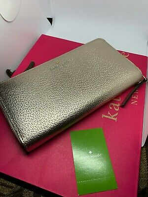 Kate Spade Grand Street Neda Leather Wallet Rose Gold New NWT With Gift Bag