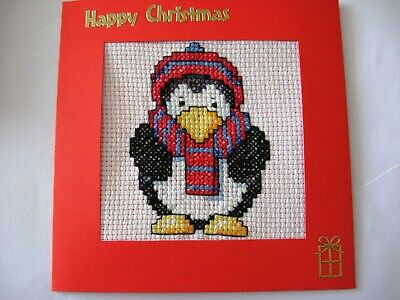 "Christmas Card Completed Cross Stitch Penguin 5.5""sq"