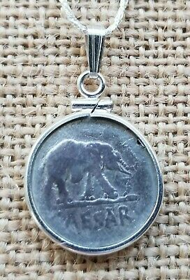 Julius Caesar Ancient Roman Elephant Denarius Coin with 925 Silver Bezel & Chain
