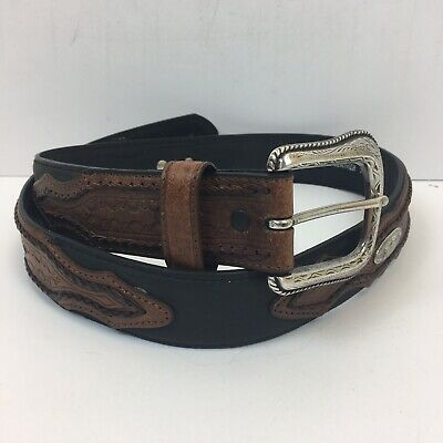 Chambers Western Style Leather Belt w/Silver Inlays & Buckle Brn / Blk - Size 32