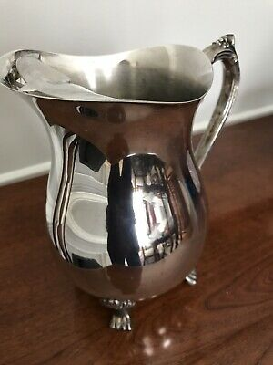 "Vintage Silver-plate Footed Water Pitcher w Ice Lip 8 1/2"" High 2 Quart"