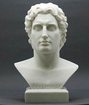 ALEXANDER the GREAT Head Bust Greek King Cast Marble Statue Sculpture 11.2 in