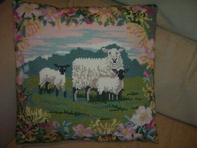 Hand Worked Needlepoint Tapestry Cushion Sheep Lambs Flowers Handmade