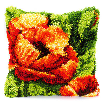 POPPIES LATCH HOOK CUSHION FRONT KIT by VERVACO and UK Seller, 16 x 16 INS NEW