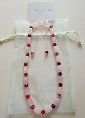 LOLA ROSE Adjustable Necklace, Pink Mix, Rose Quartz and Pink Persian Agate