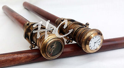 Set of Two Antique Telescope Walking Stick-Cane With Brass Compass/Clock Handle