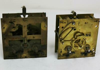 Pair Antique German Vienna 8 Day Clock Striking Movement Spares or Repair Parts