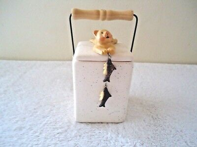 "Ceramic Cat Themed Square Tea Light Candle Holder With Lid & Handle "" GREAT ITEM"