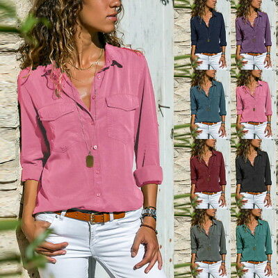 Women Baggy Blouse Tops Ladies Holiday Plain Long Sleeve Loose Casual T-shirt #@
