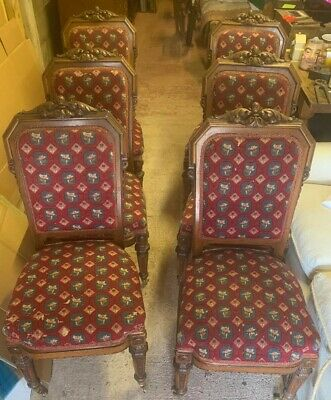 Set 6 Victorian Carved Walnut Dining Chairs Tapestry Needlework Upholstery Seats